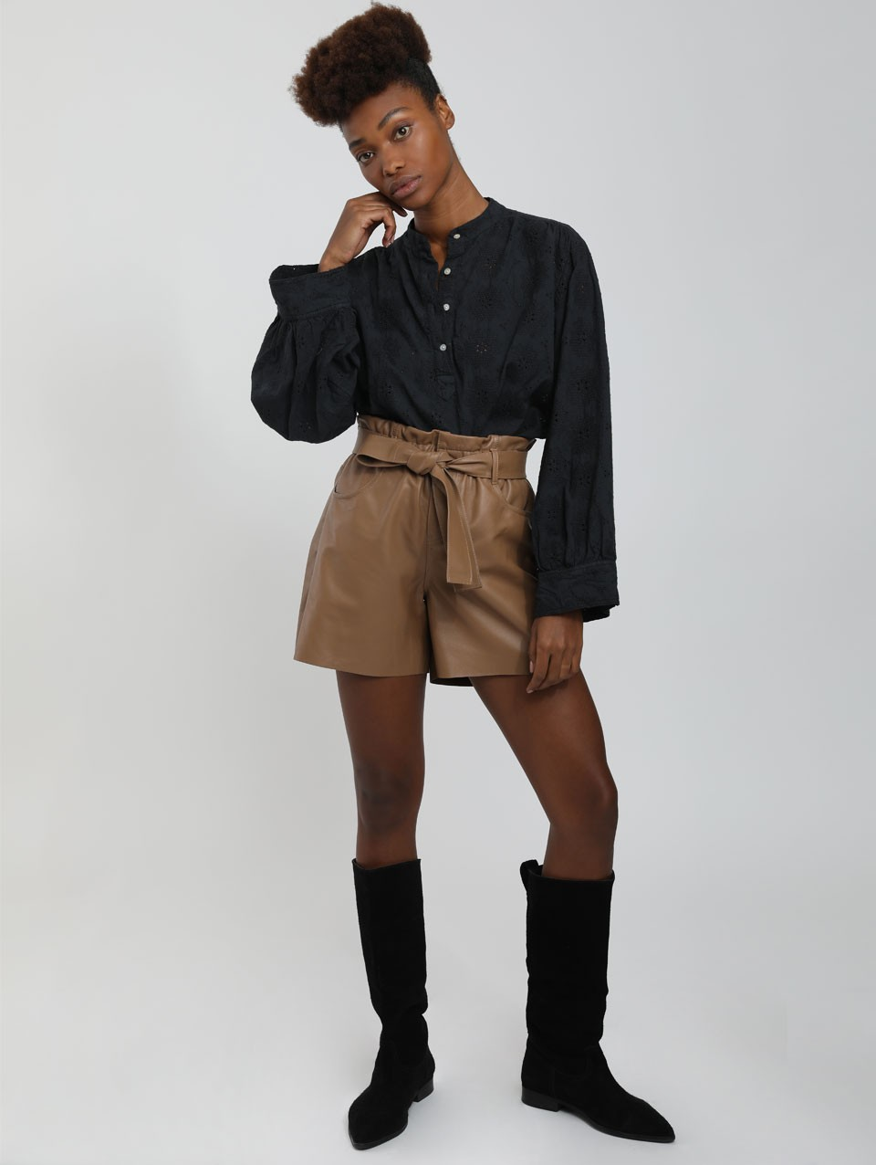 Dar High Waist Leather Shorts
