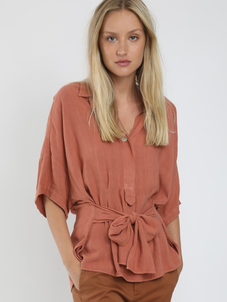 Macy Belted Placket Blouse