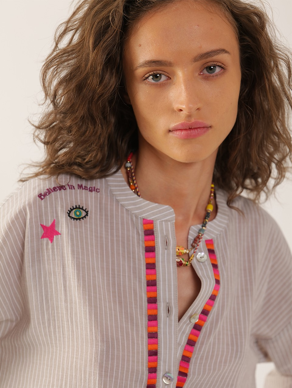 Cosmo Placket Embroidered Blouse