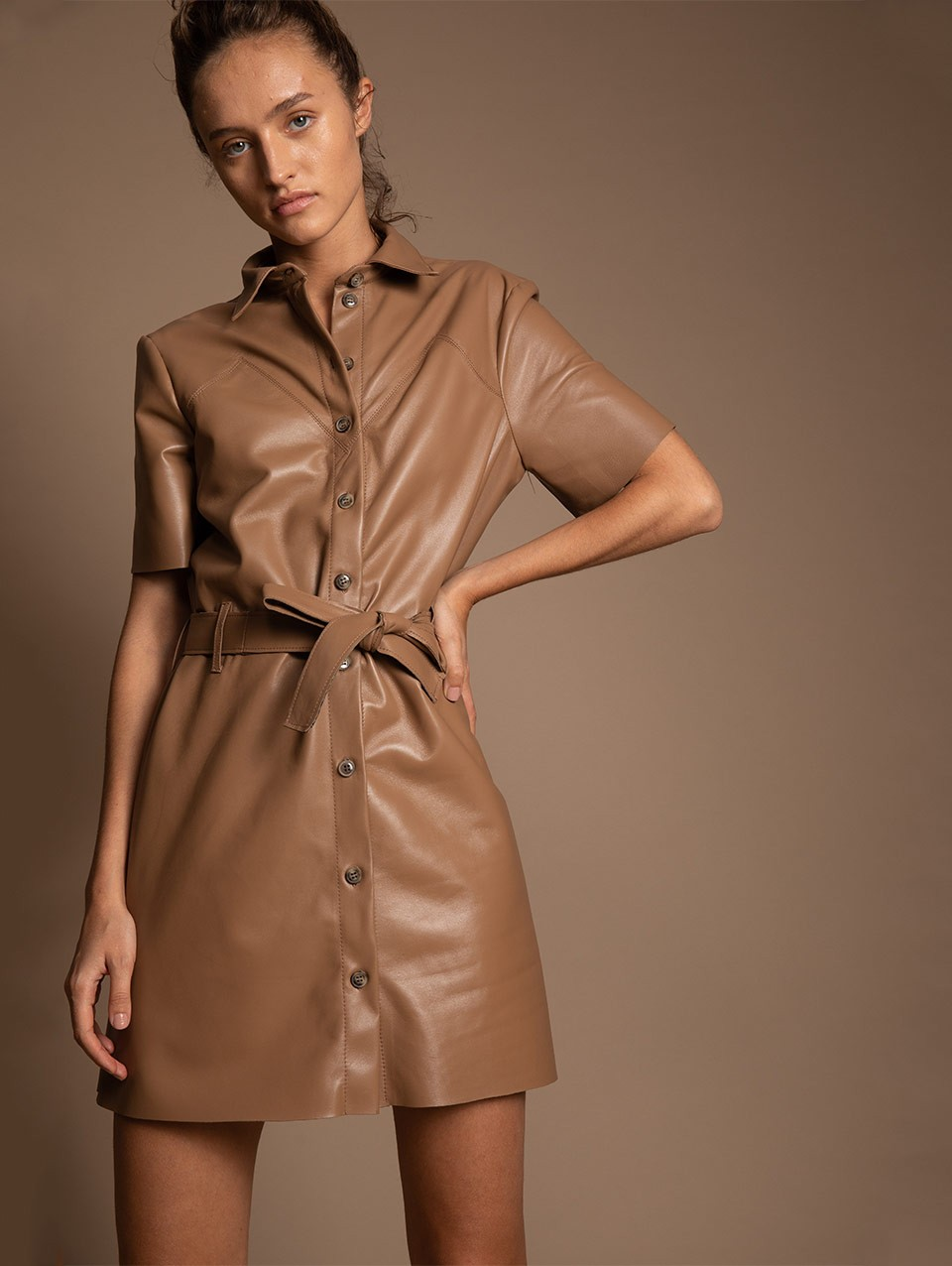 Cristi Mini Leather Dress With Placket And Belt