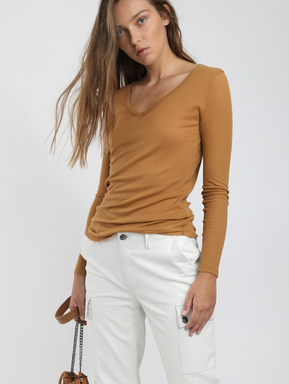 Olivia V Neck Ribbed Jersey