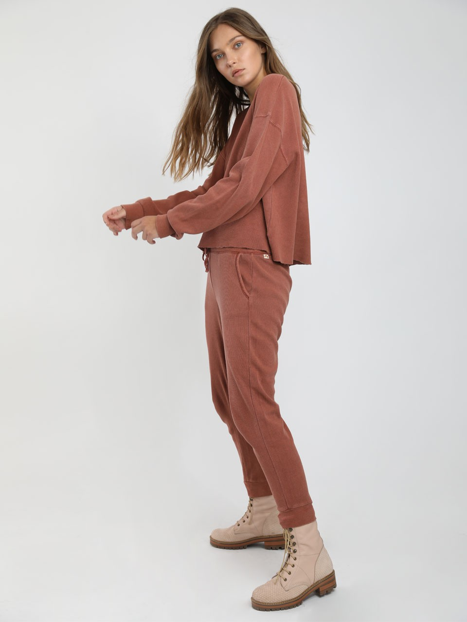 Womens Billy Ribbed Waffle Jersey Pants