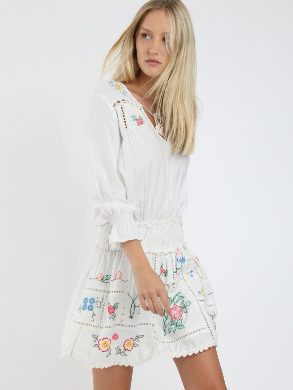 Nina Embroidery Mini Dress