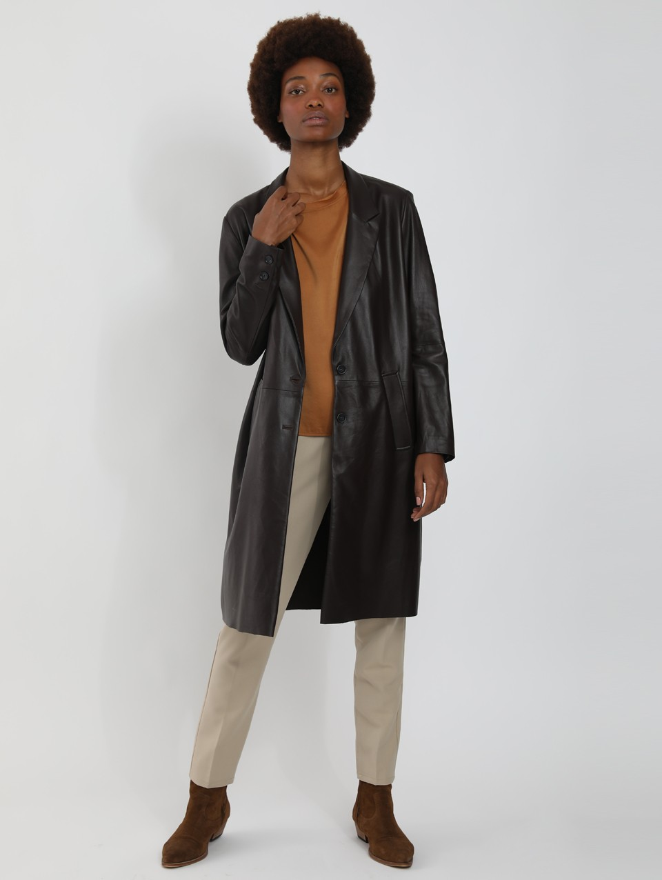 Jass Lapel Midi Leather Coat