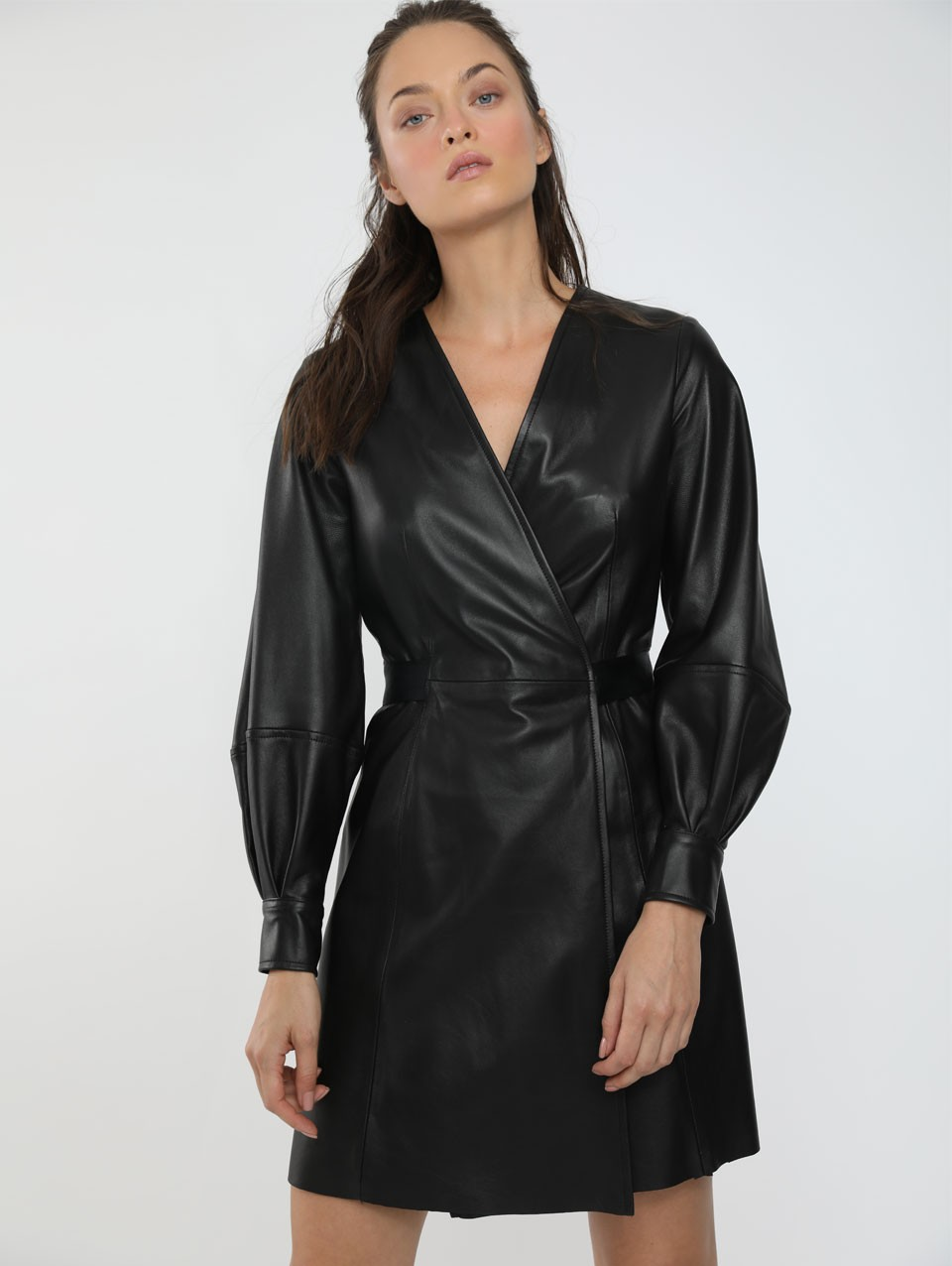 Temi Mini Leather Wrap Dress