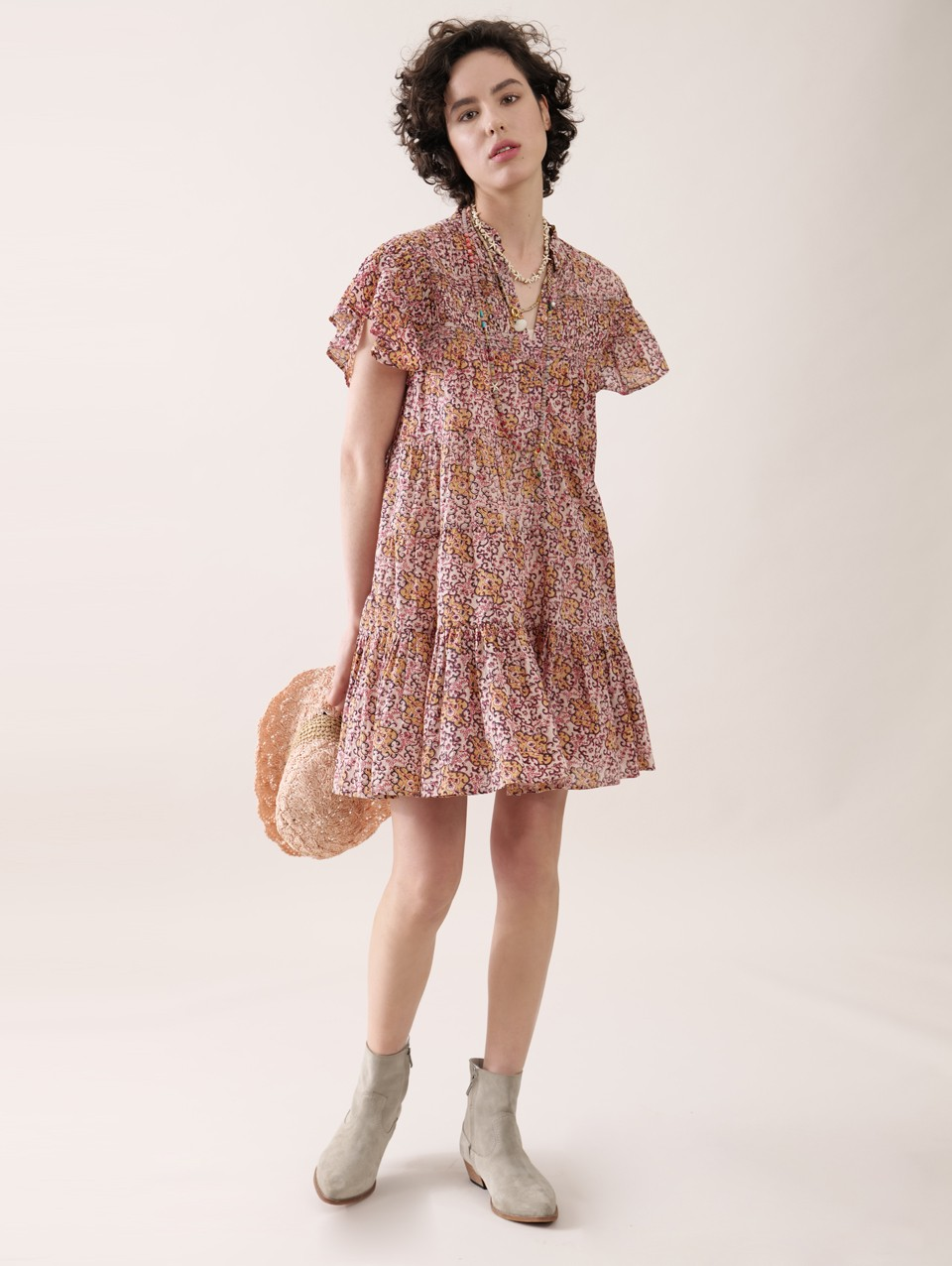Ilona' Print Gathring Dress