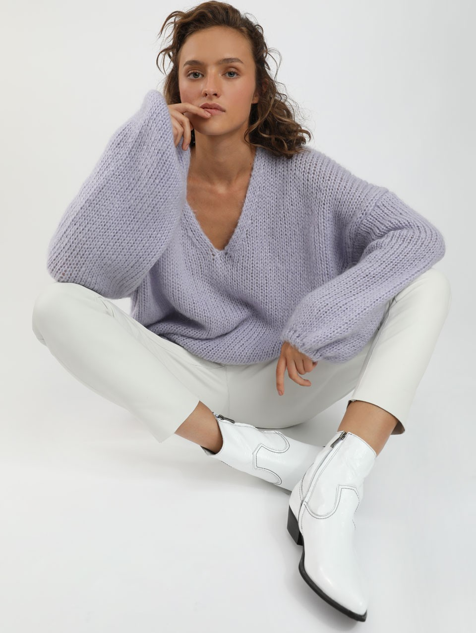 Alex V-neck Puffy Sweater -0-Smoked Lilac-0