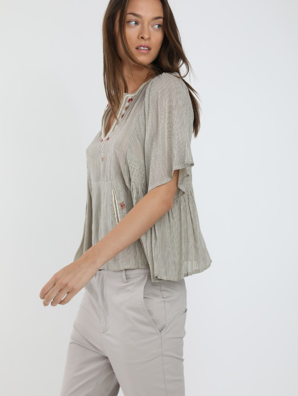 Faith Strip & Emb Blouse