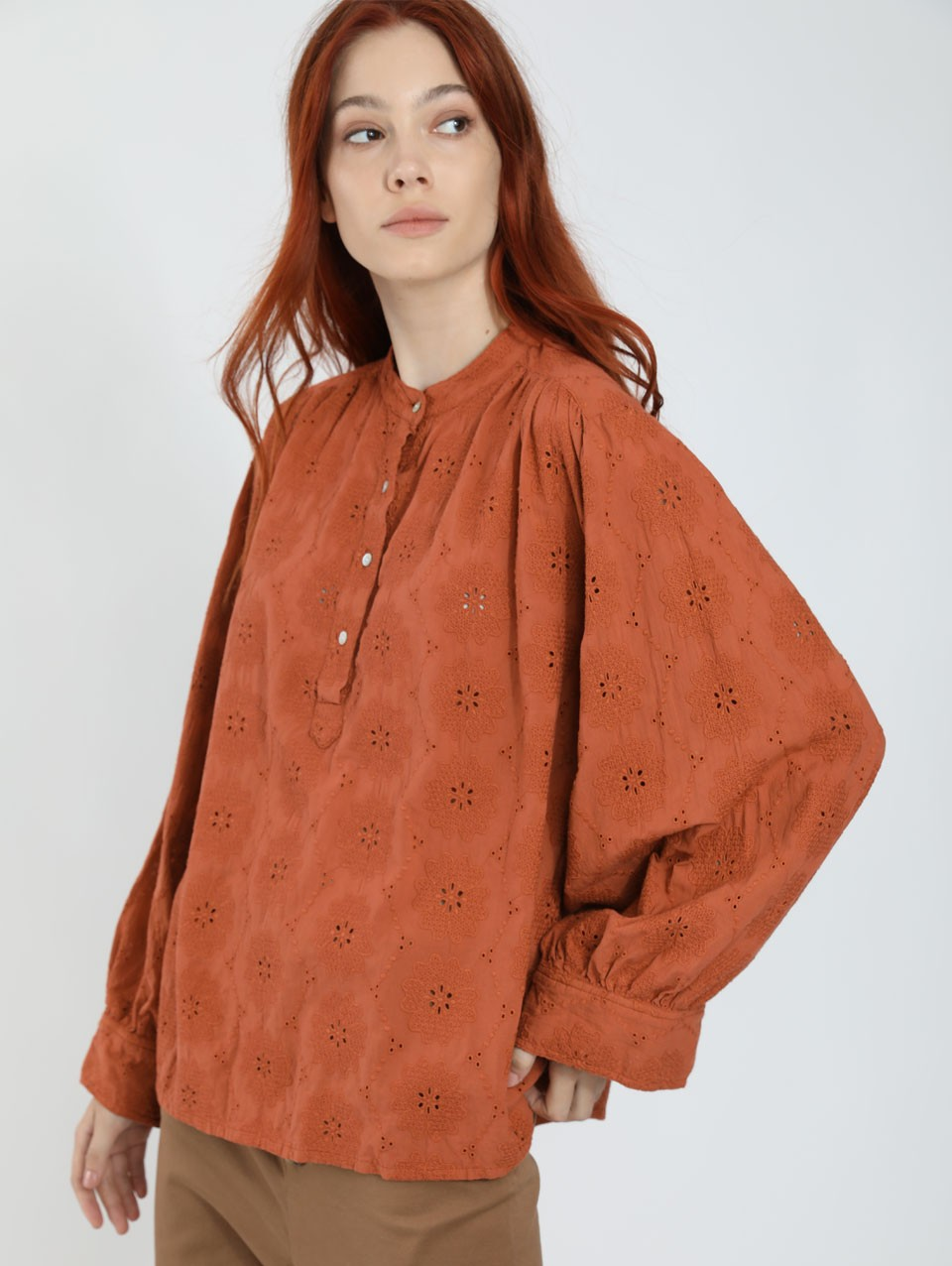 Mabel Lace Placket Blouse