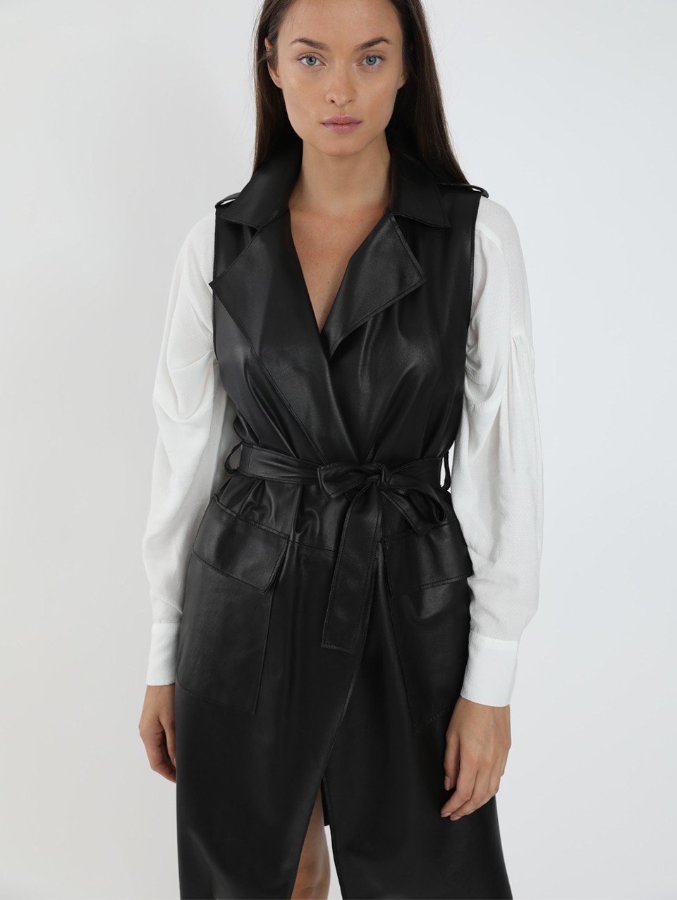 Jordi Over The Knee Leather Vest With Belt