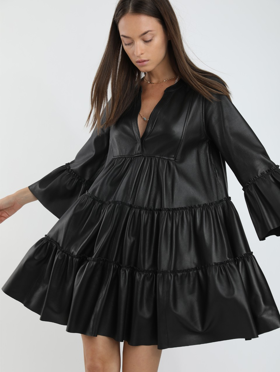 Shirin Oversize Leather Frilled Dress