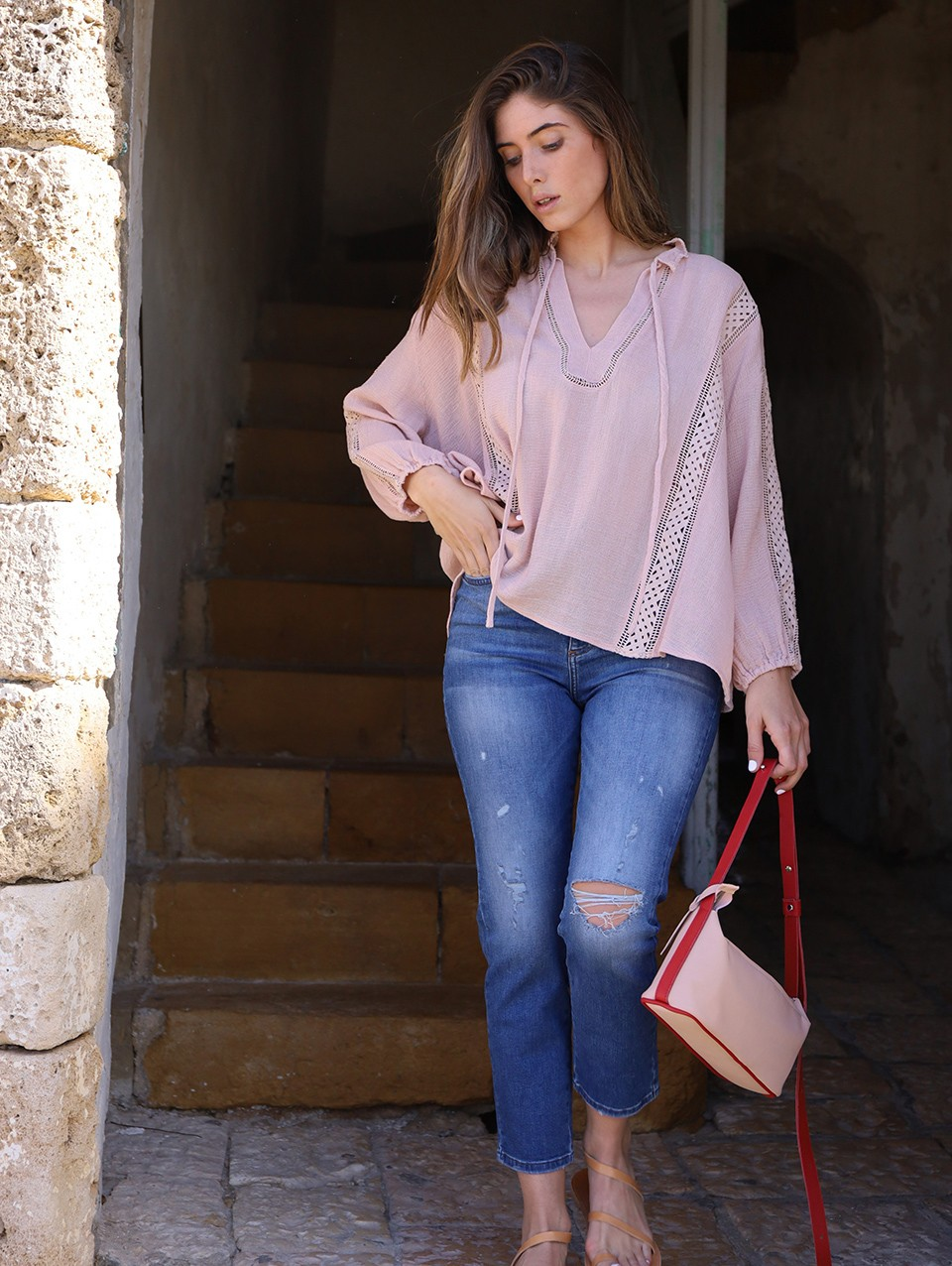 Cathy Lace Trimm Blouse