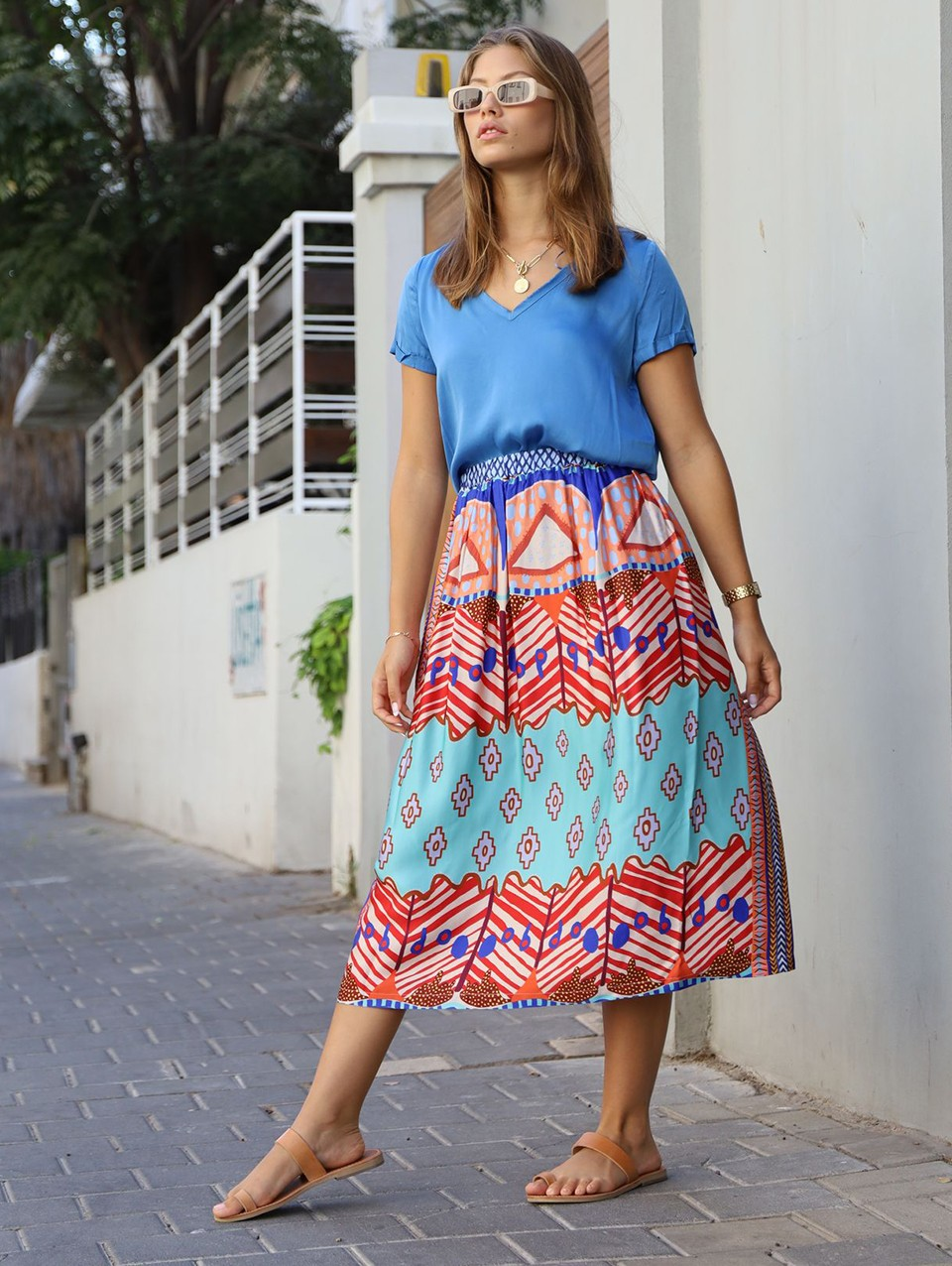 Hailey Printed Viscose Blend Midi Skirt