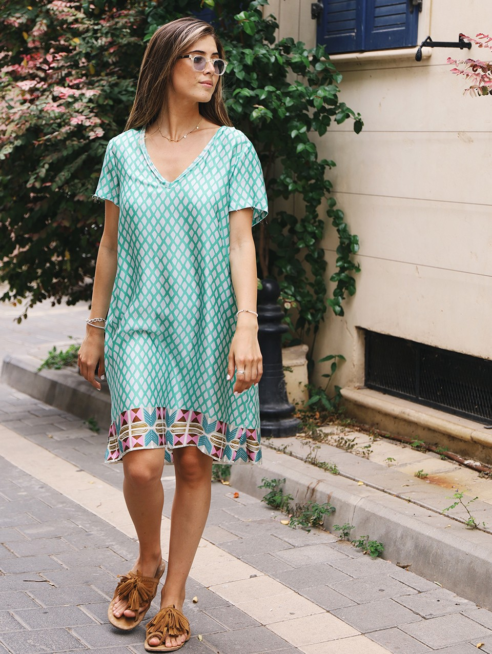Shelly Printed V-Neck Dress