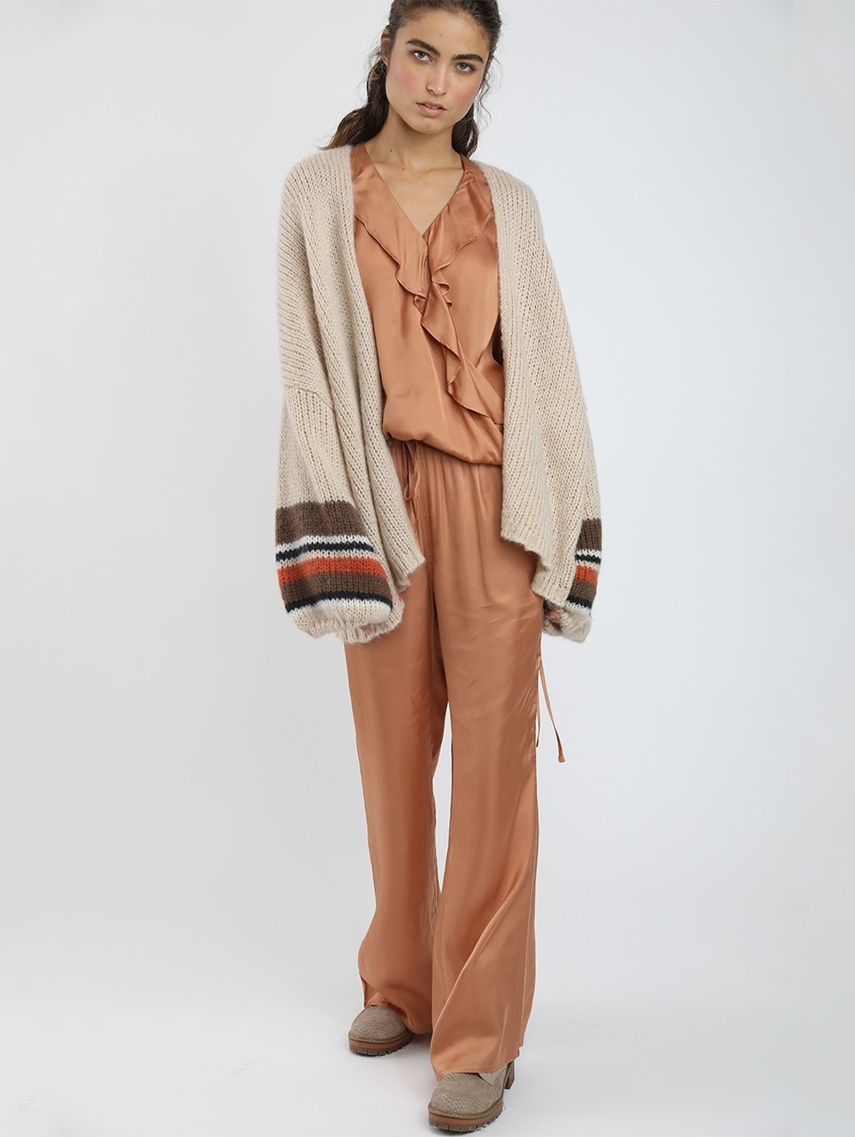 Ema Striped Puffy Oversize Cardigan-0-Natural-0