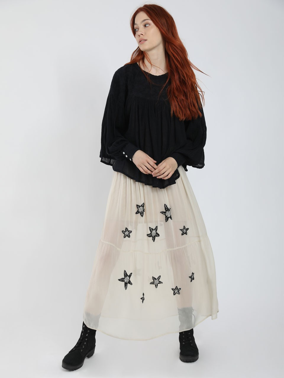 Eveline Embroided  Midi Skirt