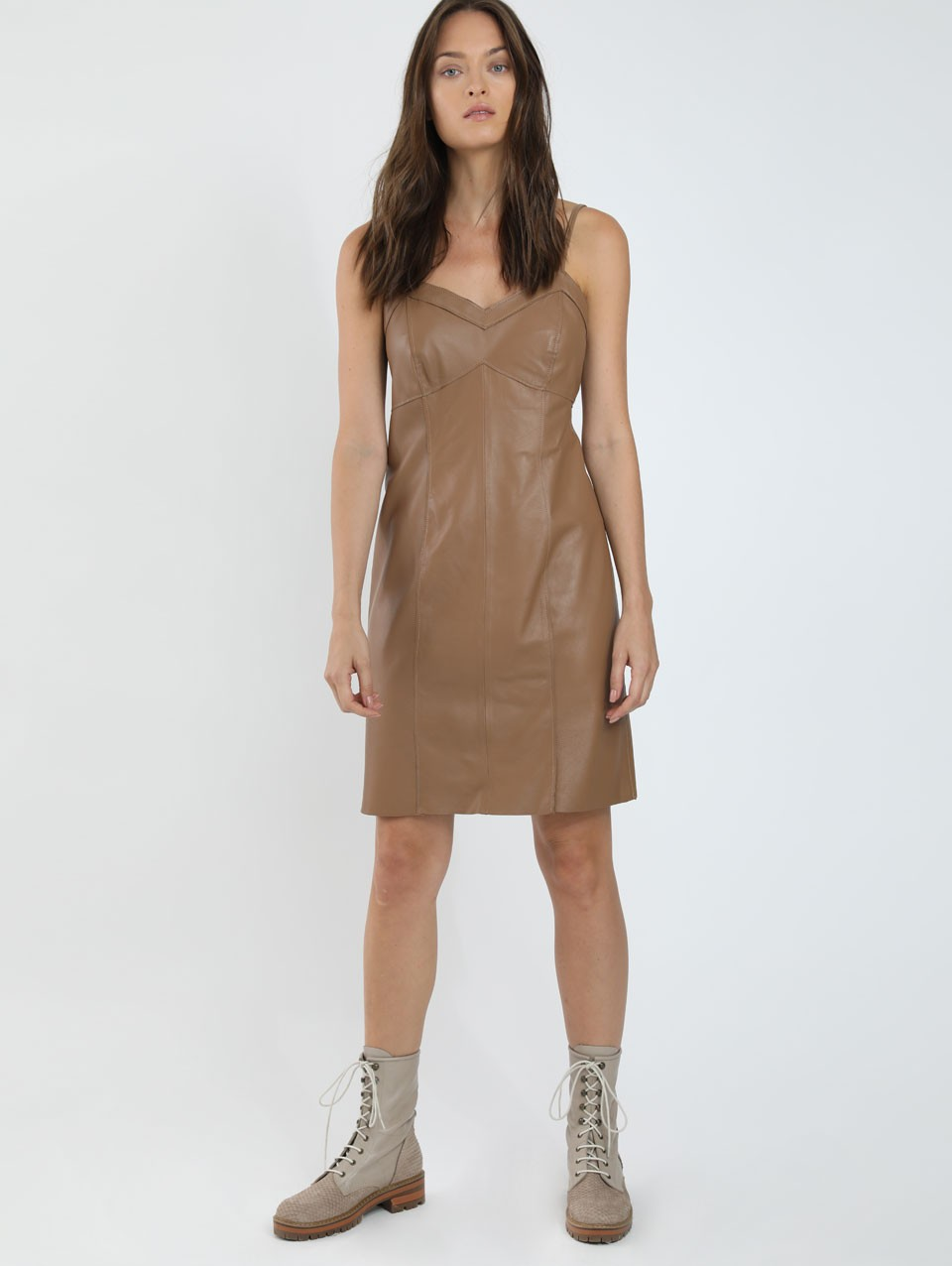 Lianna Mini Leather Slip Dress