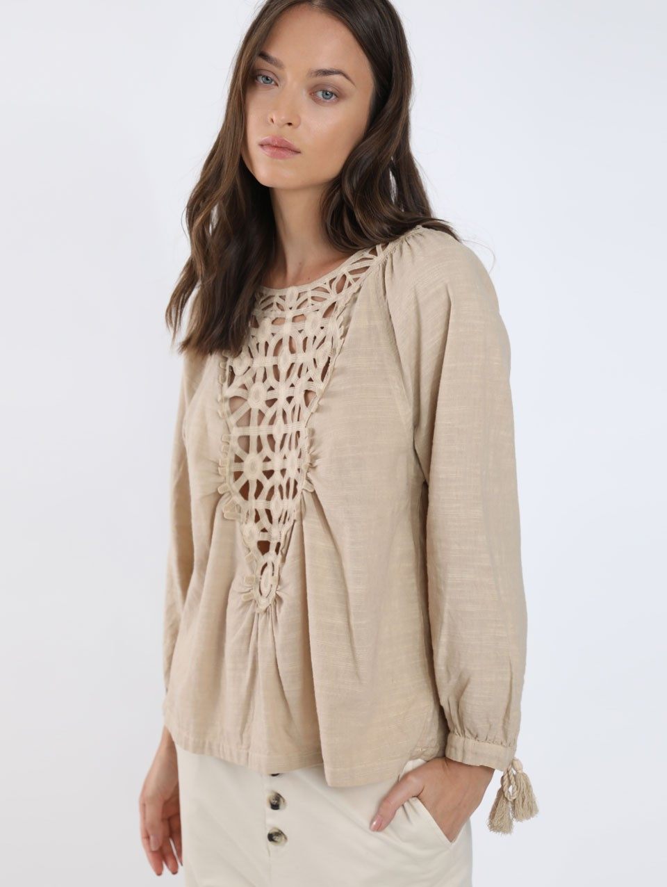 Calla Lace Trim Blouse