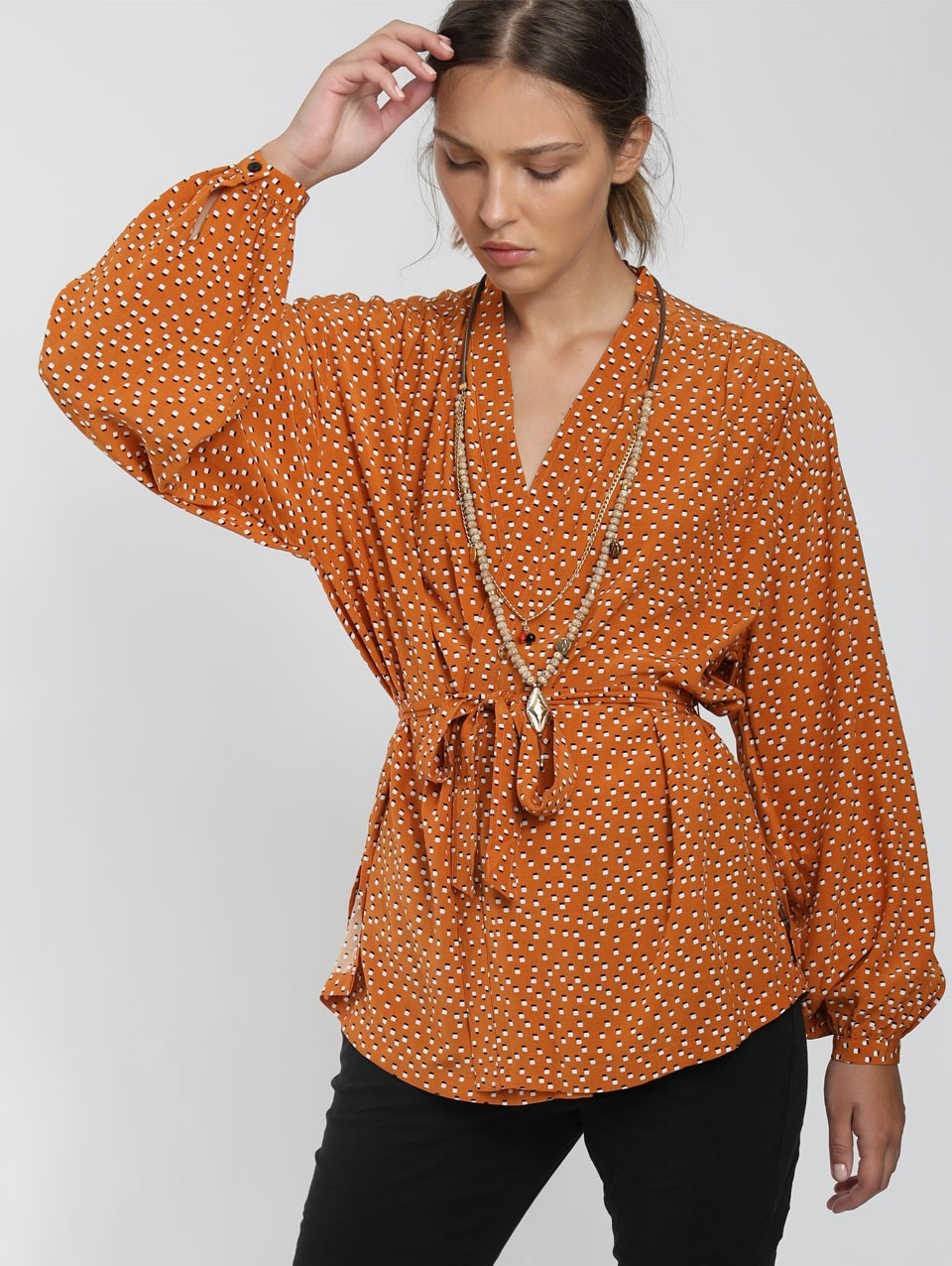 Rami Wrap Blouse