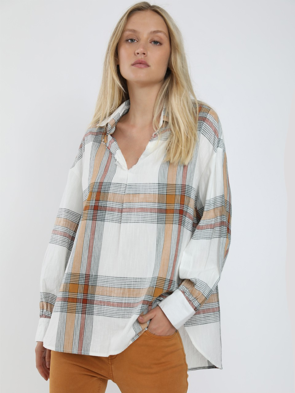 Neta Placket Check Blouse