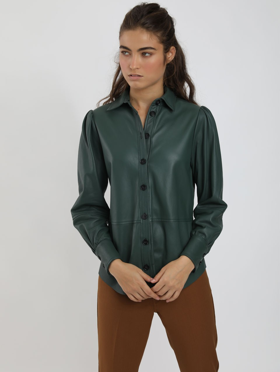 Eve Puff Sleeve Leather Shirt