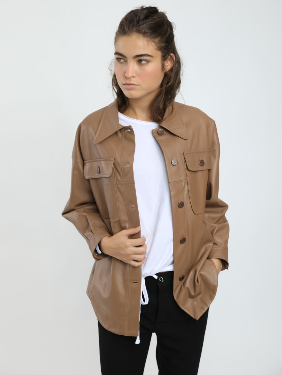 Terry Leather Shirt Jacket
