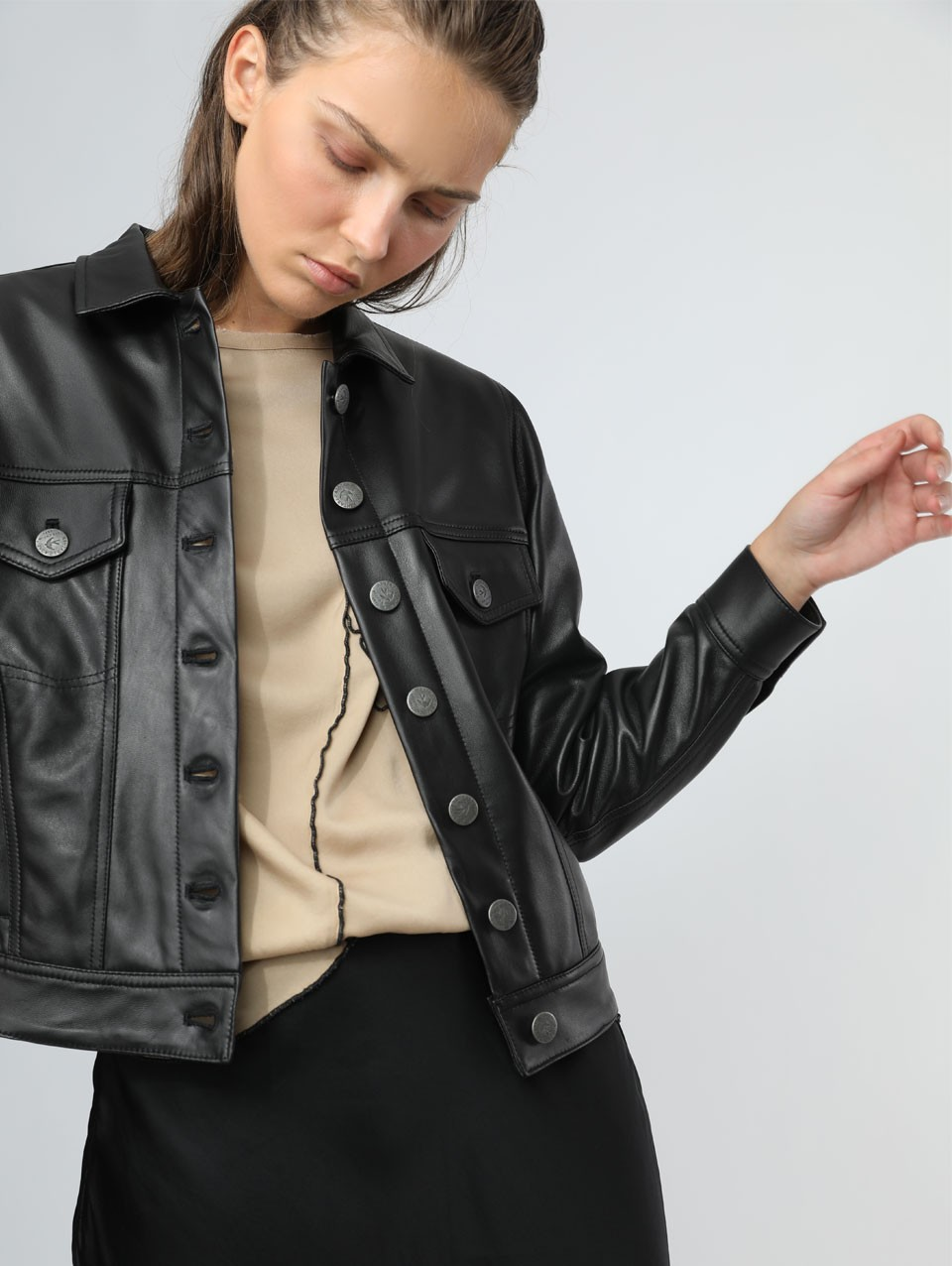 Juliann Pockets Leather Jacket