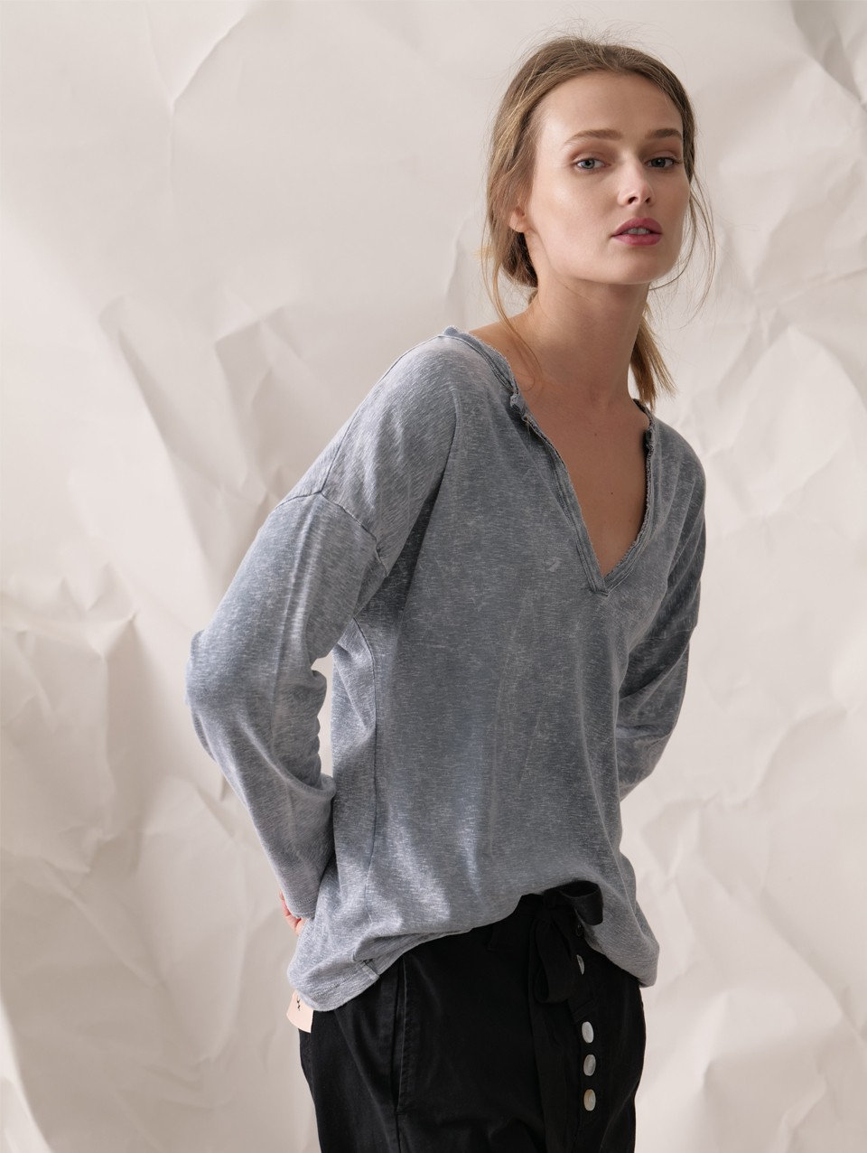 Adi Placket Rib Slub Top
