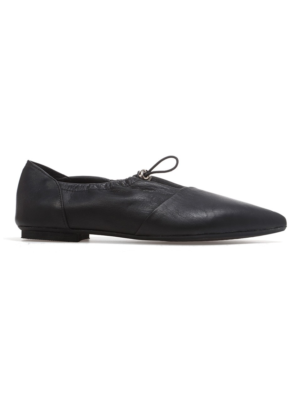 Leather Drawstring Ballet Flats