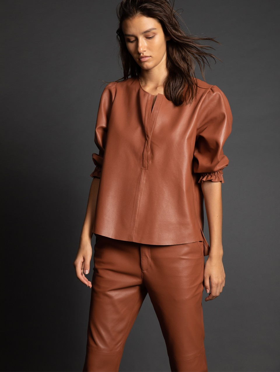 Yohan Baloon Sleeve Leather Shirt