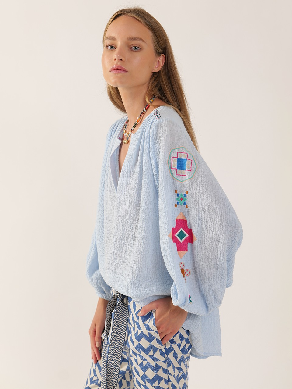 Jules Embroidered Placket Shirt