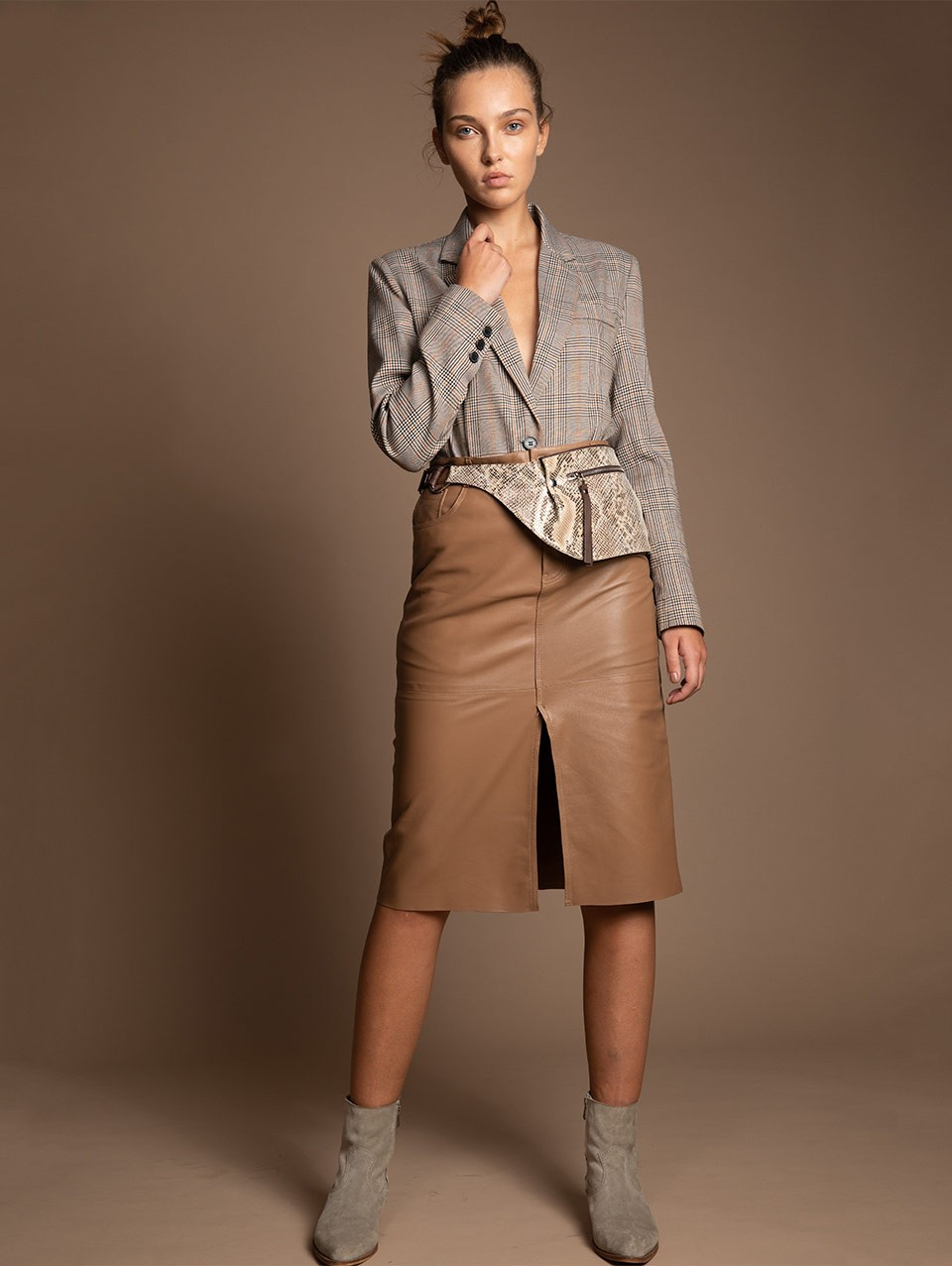 Winnie Leather Pencil Skirt