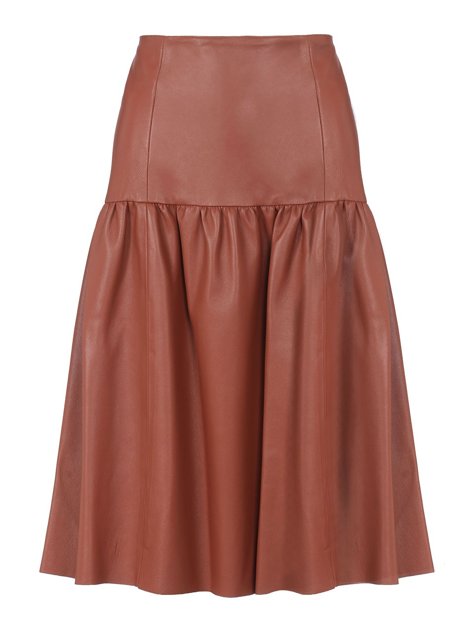 Bali Midi Leather Skirt With Yoke