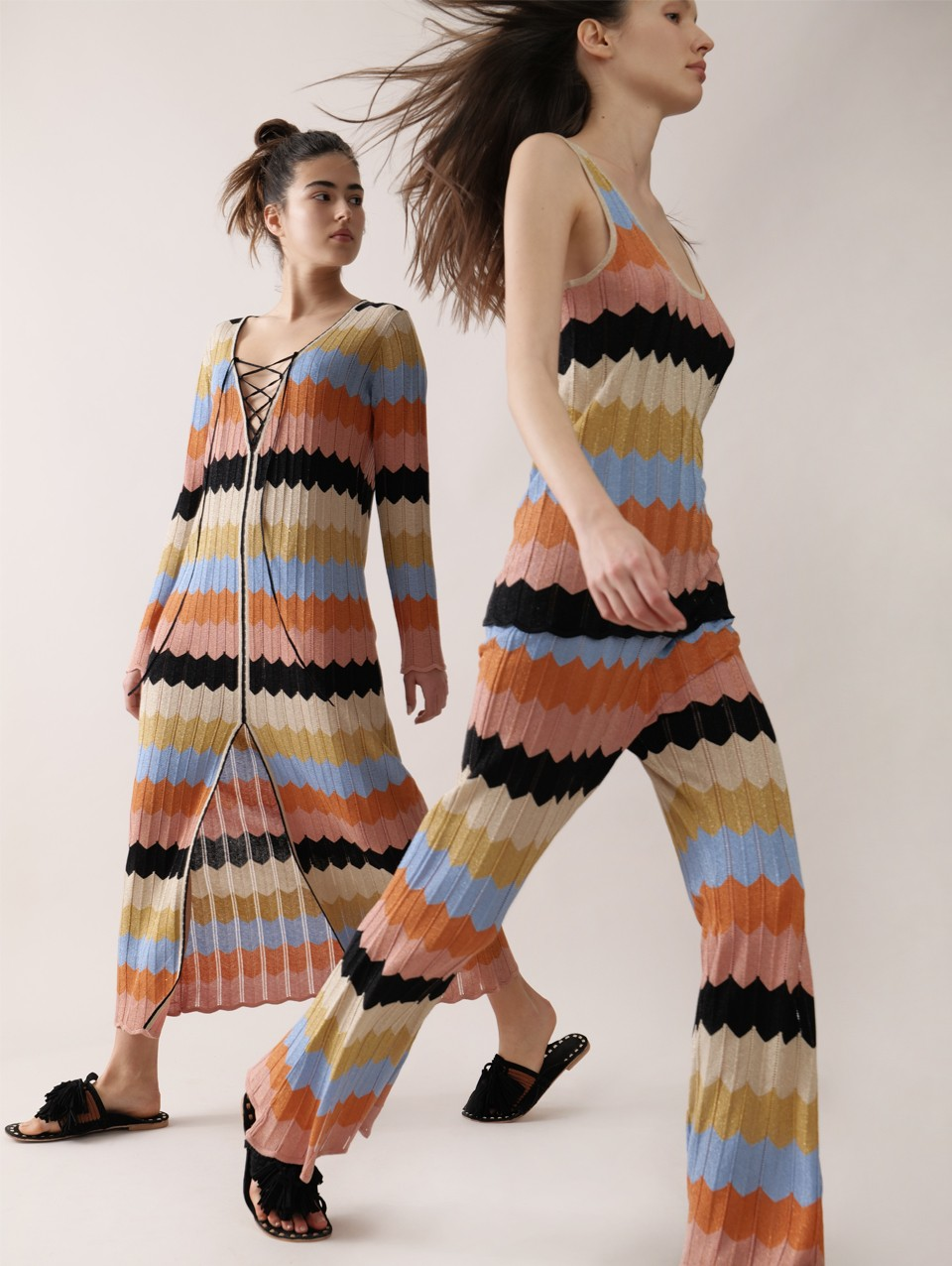Ati Zig Zag Striped Knit Dress