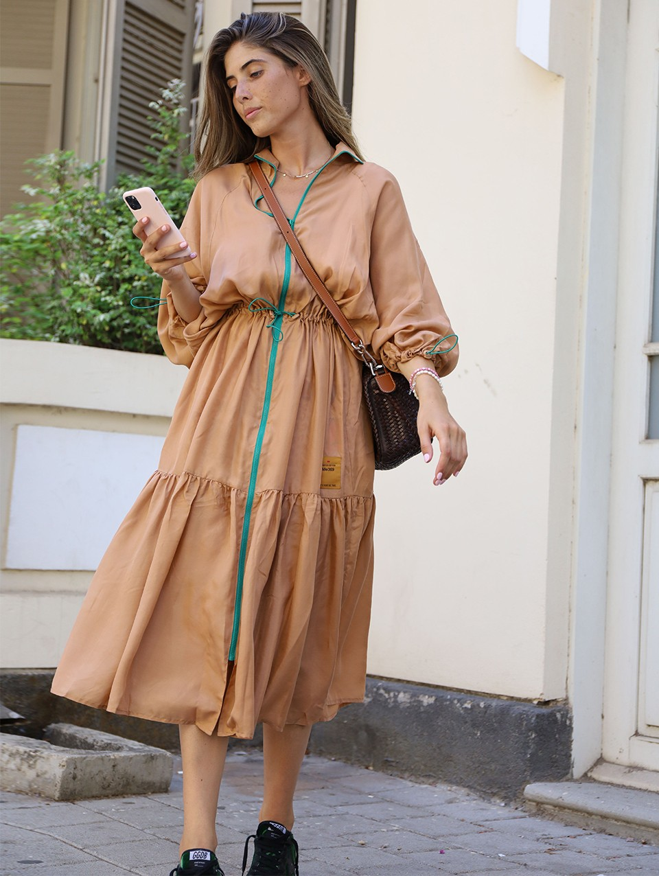 Leah 100% Silk Gathring Dress